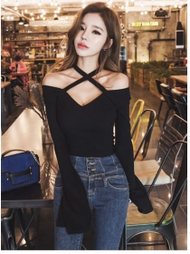 Fashion Sexy 2 Colors V-neck Off Shoulder Flare Sleeve T-shirt
