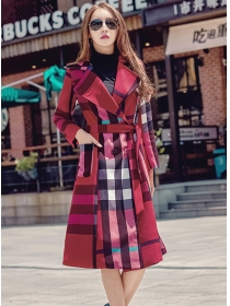 Brand Fashion 2 Colors Plaids Turn-down Collar Long Coat