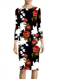 Lovely Fashion Flowers Printing Slim Long Sleeve Dress