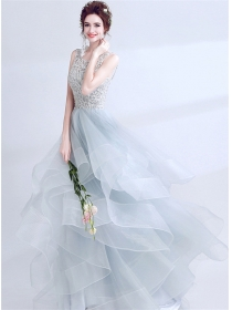 Stunning Lady Beads Hollow Out Backless Gauze Fluffy Prom Dress