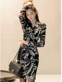 Korea OL Fashion V-neck Flowers Skinny Long Sleeve Dress