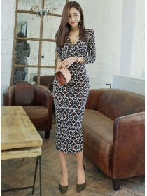 Fashion Korea V-neck Flowers Printing Skinny Long Dress