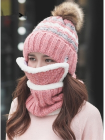 Warm Winter 5 Colors Flocking Scarf with Fur Ball Hat