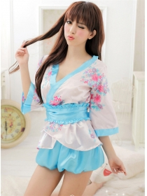 Lovely Sexy V-neck Flouncing Flowers Kimono Dress