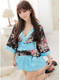 Sexy Wholesale V-neck Flowers Kimono Short Dress