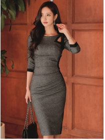 Korea OL Fashion Round Neck Pleated Flocking Slim Dress