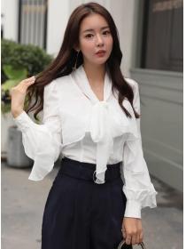 Wholesale Korea Tie Bowknot Flouncing Chiffon Blouse