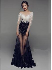 Sexy Fashion Color Block Lace Fishtail Gauze Prom Dress