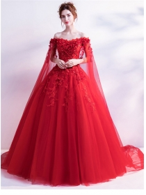 Charming New Stereo Flowers Boat Neck Gauze Evening Dress