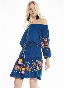 Retro Europe Boat Neck Flowers Embroidery Loosen Dress