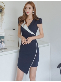 Korea OL Fashion Color Block V-neck Skinny Dress