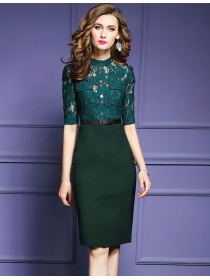 Europe OL Fashion 2 Colors Lace Splicing Bodycon Dress