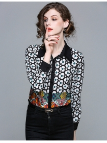 Spring Fashion Turn-down Collar Flowers Slim Blouse