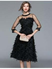 Charming Lady Gauze Shoulder Tassels Feather Dress