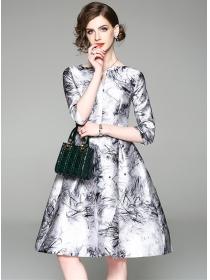 Europe New V-neck Ink Flowers Umbrella A-line Dress