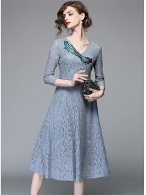 Elegant Lady Embroidery V-neck Slim Lace A-line Dress