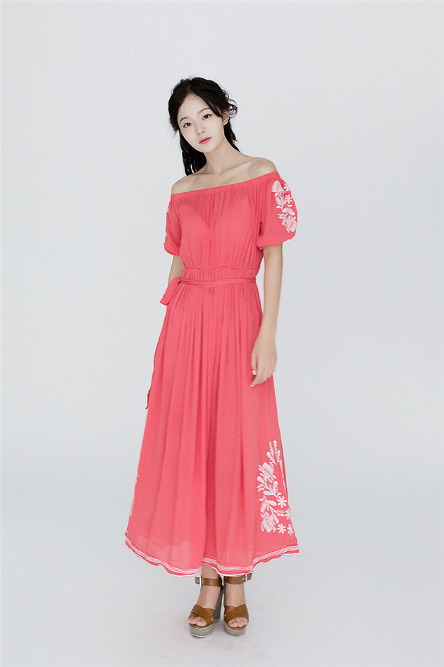 Fairy Fashion 2 Colors Boat Neck Embroidery Cotton Maxi Dress