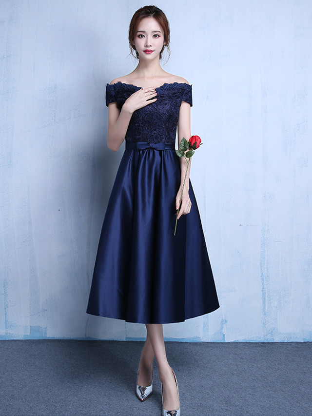 Quality Fashion Lace Boat Neck Bowknot A-line Party Dress