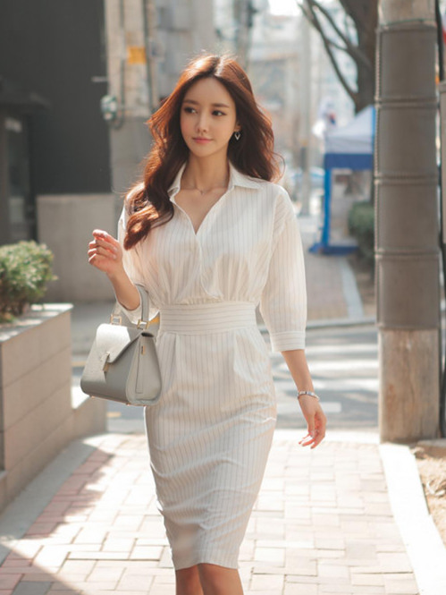 Fashion Korea Shirt Collar Fitted Waist Stripes Dress