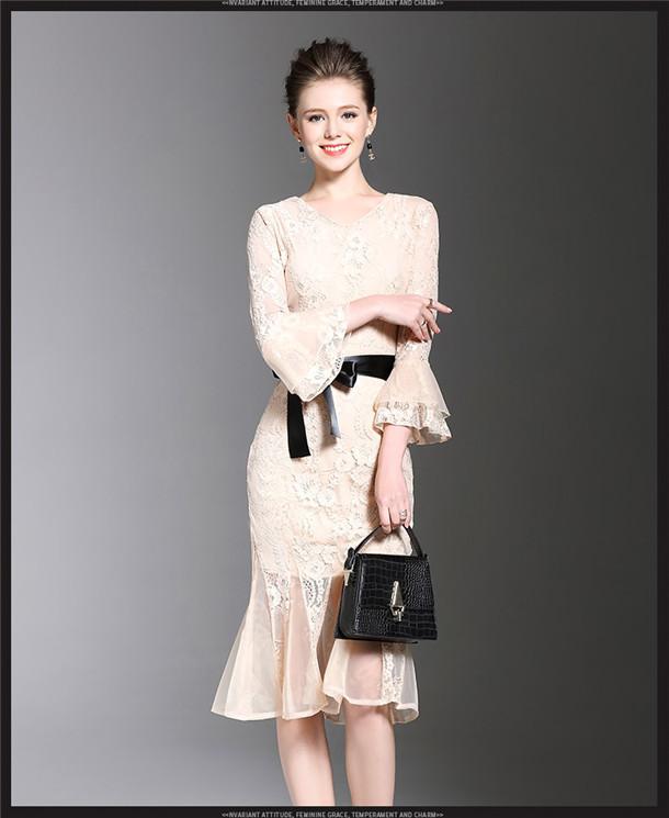 British Women 2 Colors Tying Waist Lace Organza Fishtail Dress