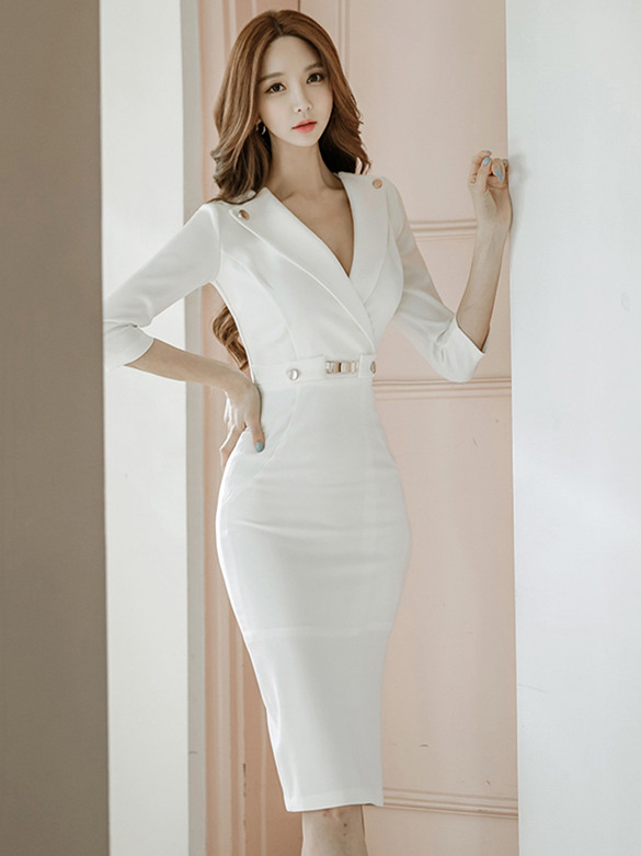 Elegant OL Fashion Tailored Collar Fitted Waist Skinny Dress