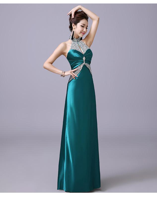 Elegant Women 5 Colors Rhinestones Waist Halter Prom Dress