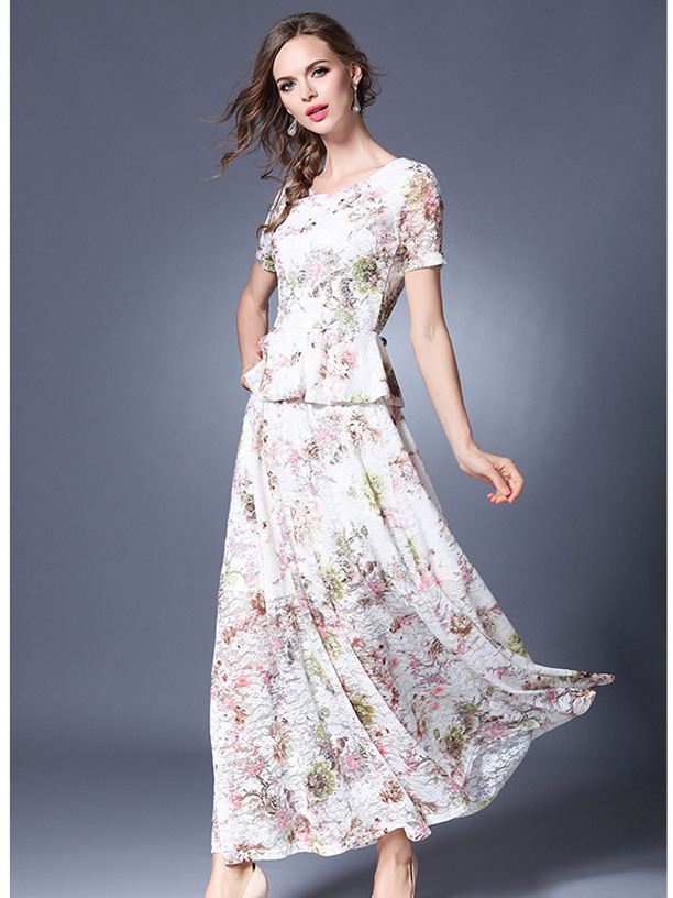 Pretty Fashion Flouncing Lace Blouse with Flowers Long Skirt
