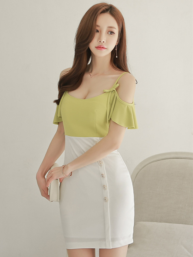 Charming Lady Bowknot Straps Splicing Single-breasted Slim Dress