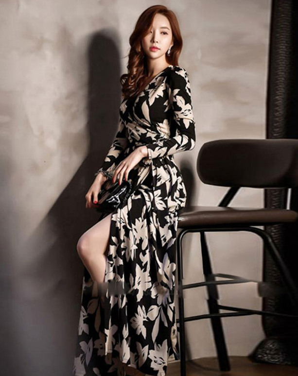Wholesale Korea 2 Colors Tying Waist Flowers Long Dress