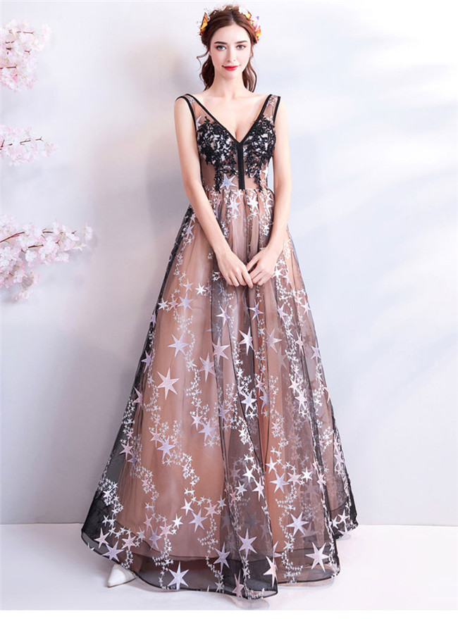 Quality New Beads Lace Flowers Stars Embroidery Prom Dress Fcplazacom