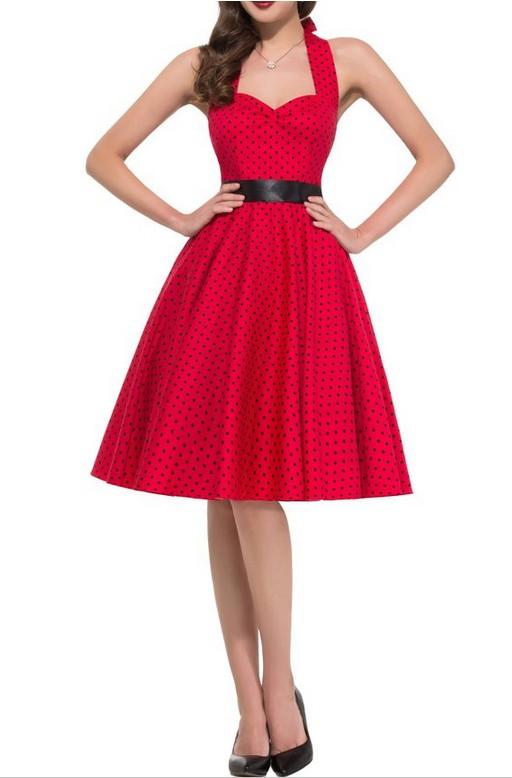 Classic Fashion Mini Dots High Waist Halter Dress