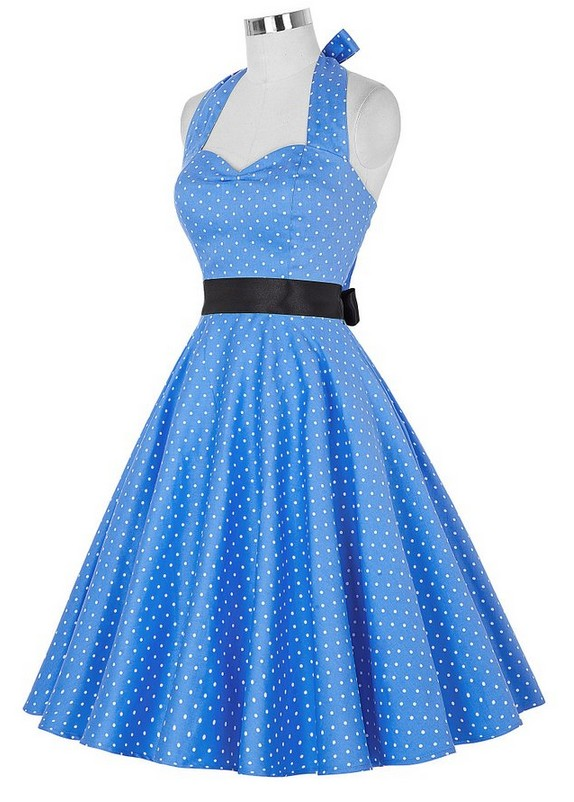 Europe Wholesale 2 Colors Mini Dots Halter A-line Dress
