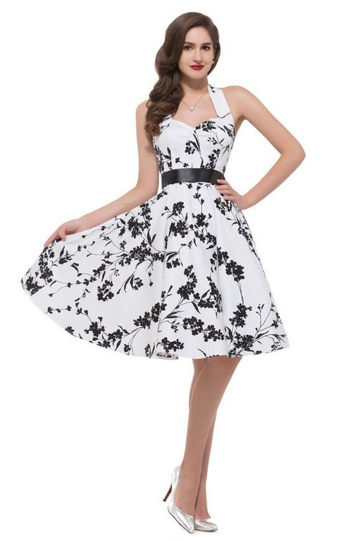 Retro Fashion Flowers Printing Backless Halter Dress