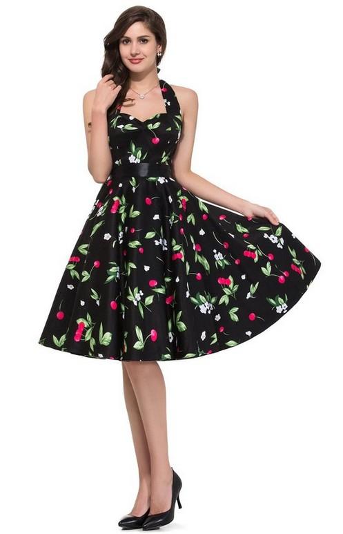 Charming Lady Flowers Printings Tying Waist Halter Dress
