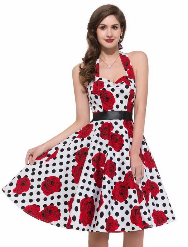 Charming Europe 2 Colors Dots Rose Slim Bubble Dress