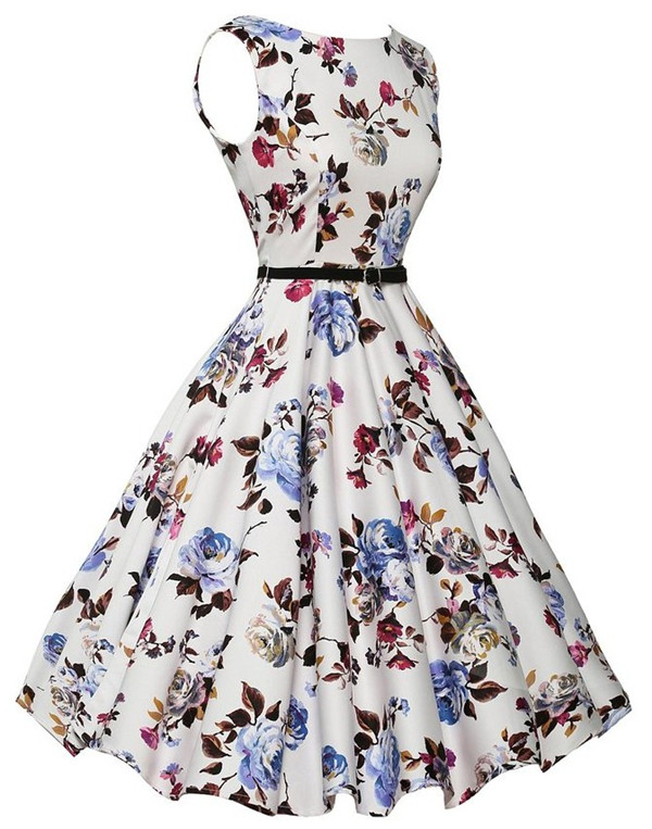 Wholesale Europe Flowers Round Neck Tank Dress