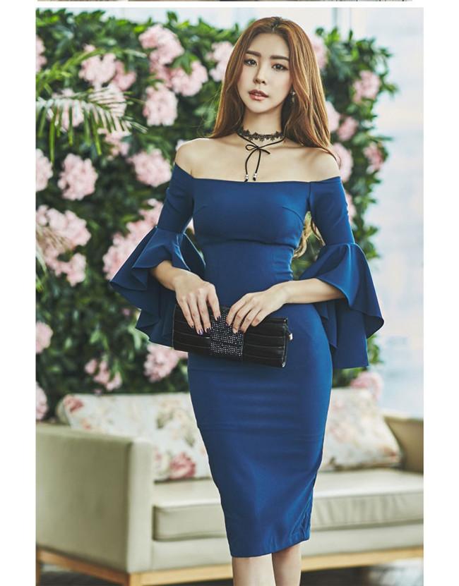 Sexy Korea Women Boat Neck Flare Sleeve Skinny Dress