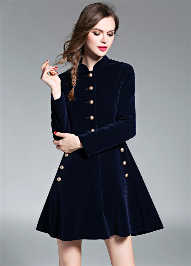British Handsome Fashion Single-breasted Thick A-line Coat Dress