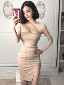 Sexy Wholesale 2 Colors Low Bust Hollow Out Straps Club Dress