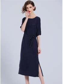 Europe Fashion 2 Colors Tie Waist Split Long Dress
