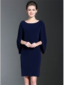 Elegant Europe 2 Colors Batwing Round Neck Slim Dress
