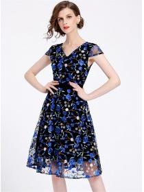 Europe Stylish V-neck Flowers Embroidery Gauze Dress