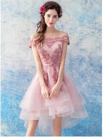 Pretty Lady Lace Stereo Flowers Boat Neck Bubble Dress