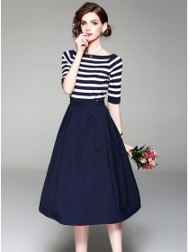 Europe Summer Boat Neck Stripes T-shirt with A-line Long Skirt