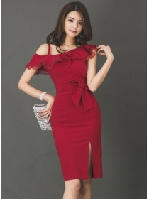 Elegant Lady Fashion Flouncing Boat Neck Slim Dress