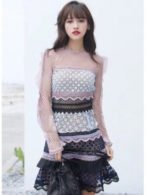 Fashion Lady Color Block Lace Flouncing Long Sleeve Dress