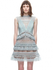 Europe Street Fashion Hollow Out Flouncing Lace Dress