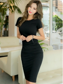 Wholesale Korea 3 Colors Round Neck Short Sleeve Cotton Dress