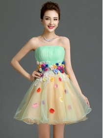 Fashion Lady Color Block Stereo Flowers Gauze Party Dress