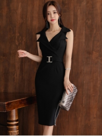 Elegant Lady Tailored Collar Bodycon Tank Dress